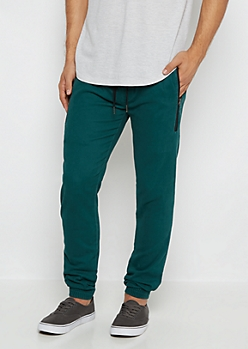 Teal Flex Zip Pocket Twill Jogger