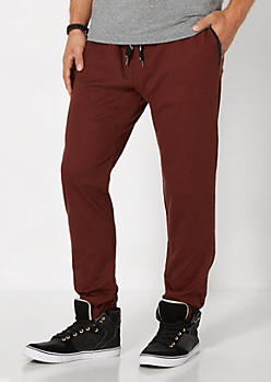 Burgundy Faux Leather Trimmed Jogger