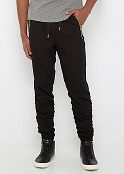 Black Twill Scrunched Jogger