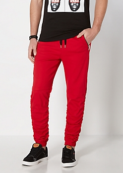 Red Twill Scrunched Jogger