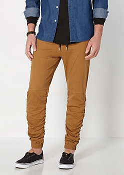 Camel Twill Scrunched Jogger