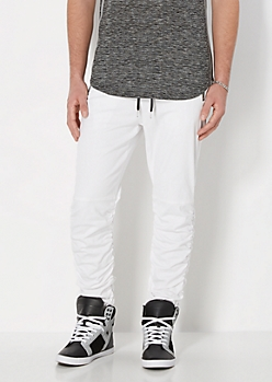White Twill Scrunched Jogger