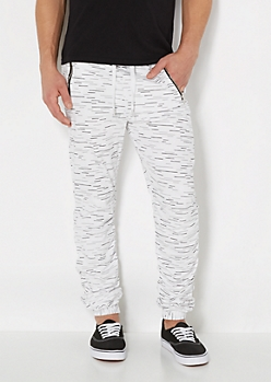 White Streak Ruched Jogger