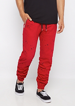 Red Paint Splatter Scrunched Jogger