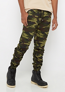Camo Zip Pocket Shirred Leg Jogger