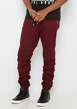 Burgundy Zip Pocket Shirred Leg Jogger