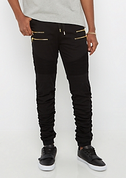 Black Moto Shirred Leg Jogger