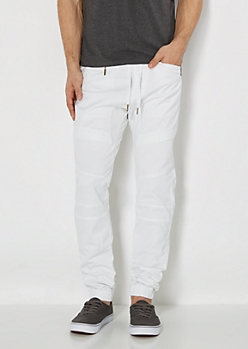 White Quilted Moto Jogger