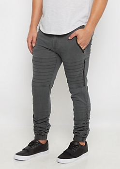 Black Moto Scrunched Twill Jogger