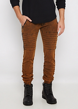 Brown Faded Moto Twill Jogger