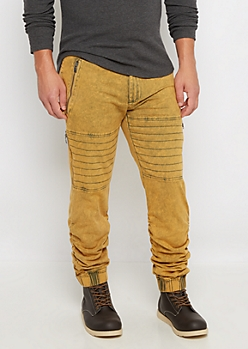 Mustard Faded Moto Twill Jogger