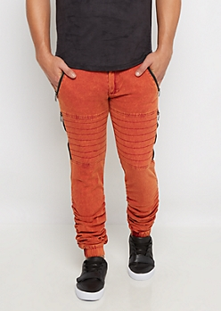 Red Faded Moto Twill Jogger