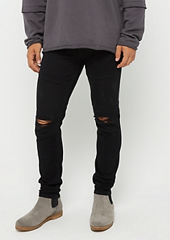 Black Flex Torn Knee Moto Pant