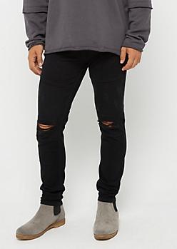 Black Flex Torn Knee Moto Pant