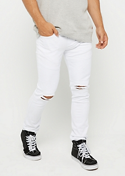 White Flex Torn Knee Moto Pant
