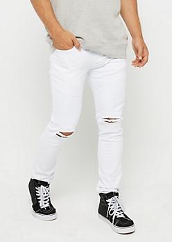 White Flex Torn Knee Moto Pant