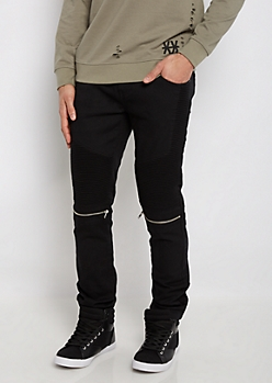 Flex Black Zipped Moto Slim Jean