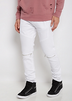 Flex White Zipped Moto Slim Jean