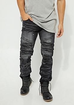 Black Destroyed Paint Splattered Flex Fit Moto Pants