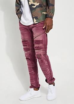 Burgundy Paint Splattered Distressed Moto Pants