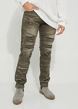 Olive Paint Splattered Distressed Moto Pants