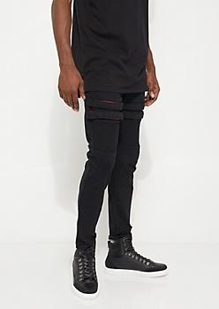 Black Velcro Moto Skinny Pants