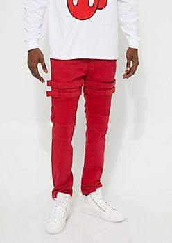 Red Velcro Moto Skinny Jeans