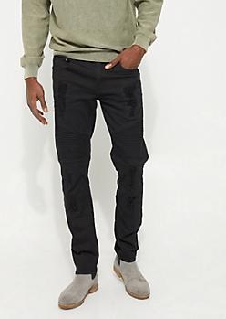 Black Distressed Moto Pants