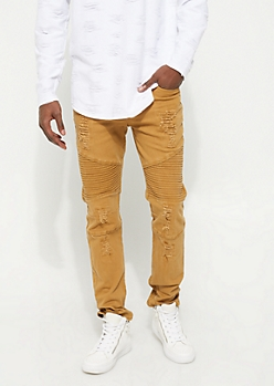 Khaki Distressed Moto Pants