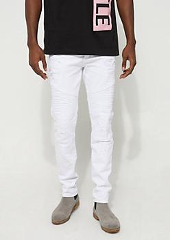 White Distressed Moto Pants
