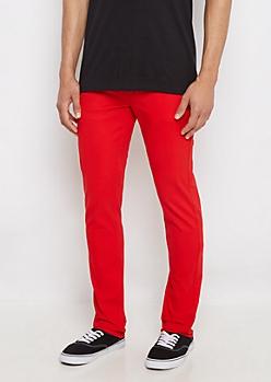 Flex Red Super Skinny Twill Pant
