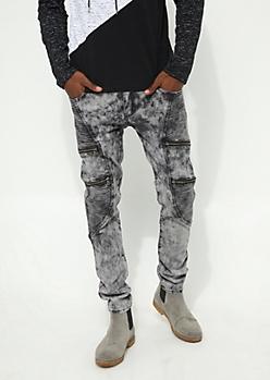 Charcoal Gray Acid Washed Flex Skinny Fit Moto Jeans