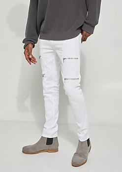 Flex White Moto Zipper Skinny Jeans