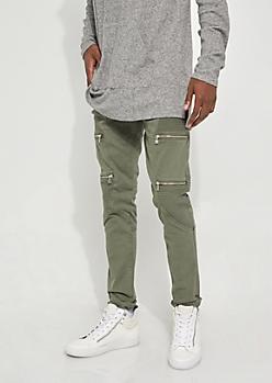 Flex Olive Moto Zipper Skinny Jeans
