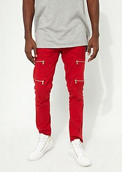 Flex Red Moto Zipper Skinny Jeans