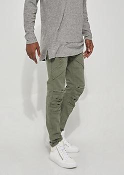 Flex Olive Pocket Flap Skinny Jeans