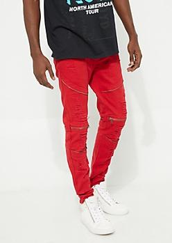 Flex Red Ripped Zipper Skinny Jeans