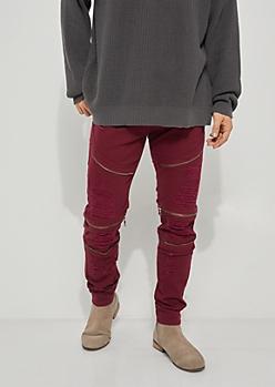 Flex Burgundy Ripped Zipper Skinny Jeans