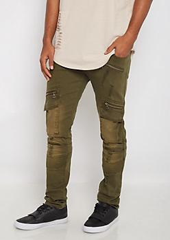 Flex Olive Zipped Cargo Moto Skinny Pant