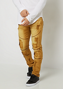 Paint Splattered Distressed Moto Pant
