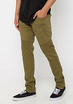 Flex Olive Zipped Moto Skinny Pant