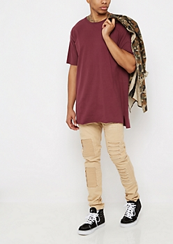 Flex Khaki Destroyed Moto Skinny Pant
