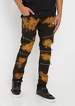 Flex Acid Wash Zipped Skinny Pant