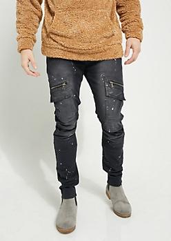Black Flex Paint Splattered Moto Skinny Pants