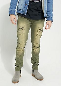 Olive Flex Paint Splattered Moto Skinny Pants