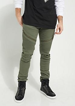 Dark Olive Faux Zip Moto Skinny Pants