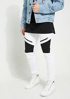 White Body Black Contrasting Moto Skinny Pants