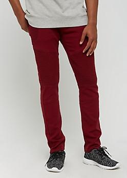 Burgundy Twill Moto Skinny Pants