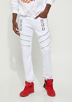 White Straight Jacket Moto Skinny Pant
