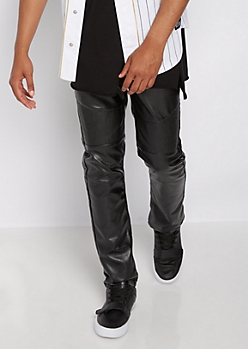 Moto Stitched Faux Leather Slim Pant